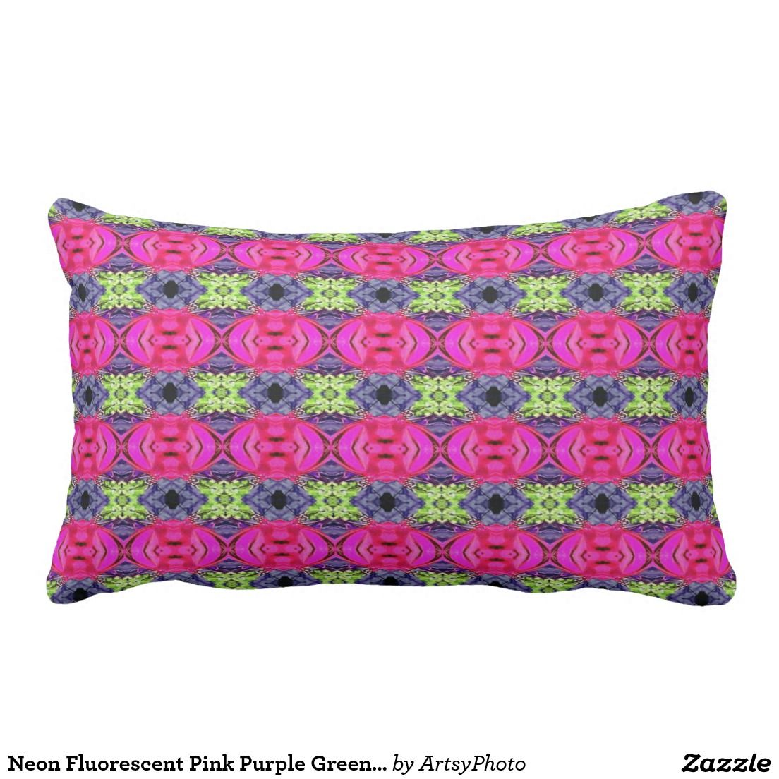 Neon fluorescent pink purple green girly pattern lumbar pillow