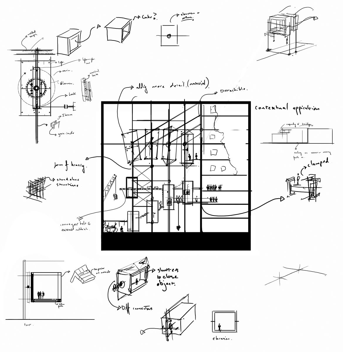 Architecture Drawing Tutorial buildup of idea through orthographic to perspective | perspective