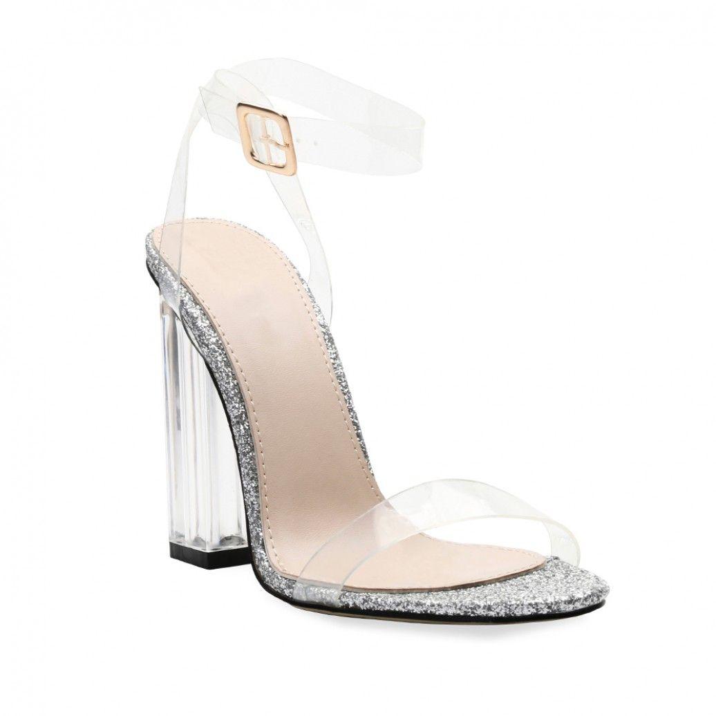 f10a50c4414 Alia Strappy Perspex High Heels in Clear Glitter