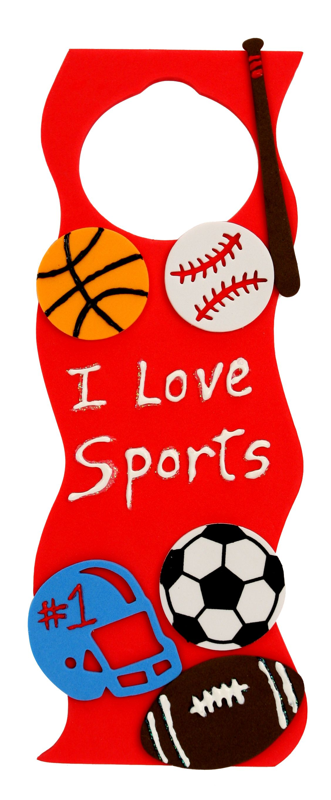 Nicole Crafts I Love Sports Door Hanger Kids Crafts