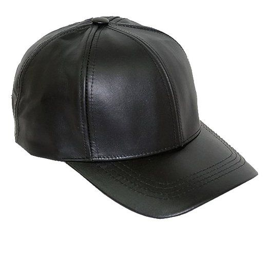 Black Leather Adjustable Baseball Cap Hat Made in USA  8bacff66903
