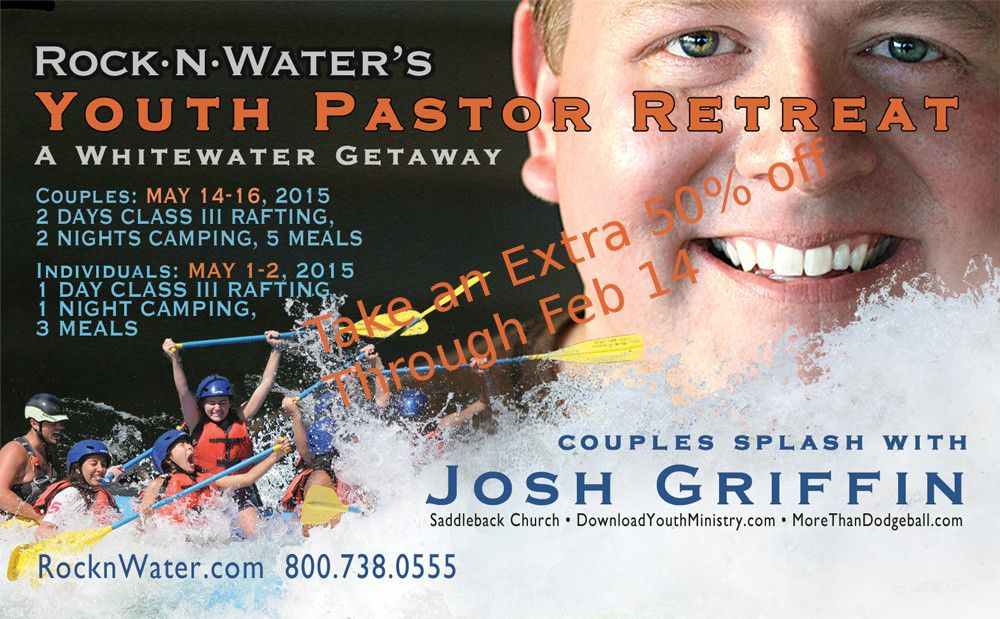 Take an extra 50% off our already super discounted Youth Pastor Couple's Retreat when you sign up by Valentine's Day http://goo.gl/S8avsm