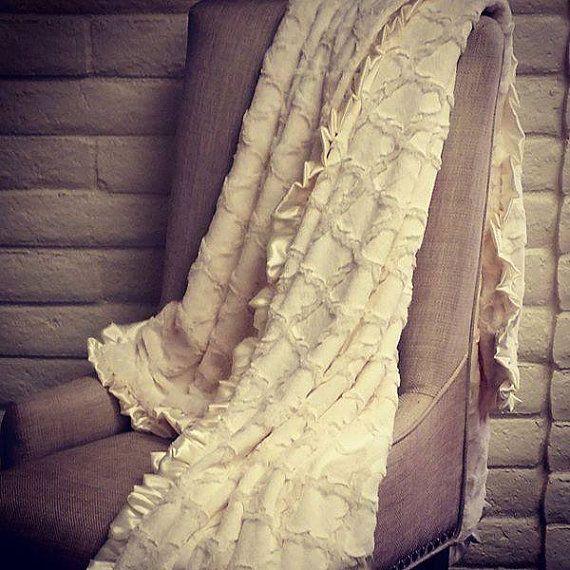 Soft Ivory Embossed Lattice with satin ruffle. XXL Throw Minky Blanket - Mommy Mimi. USA MADE by Elonka Nichole $150.00 www.elonkanichole.com