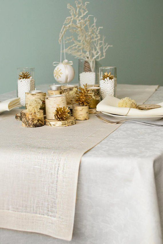 Gold Christmas Table Runner Woodland Wedding Dinner Decor White