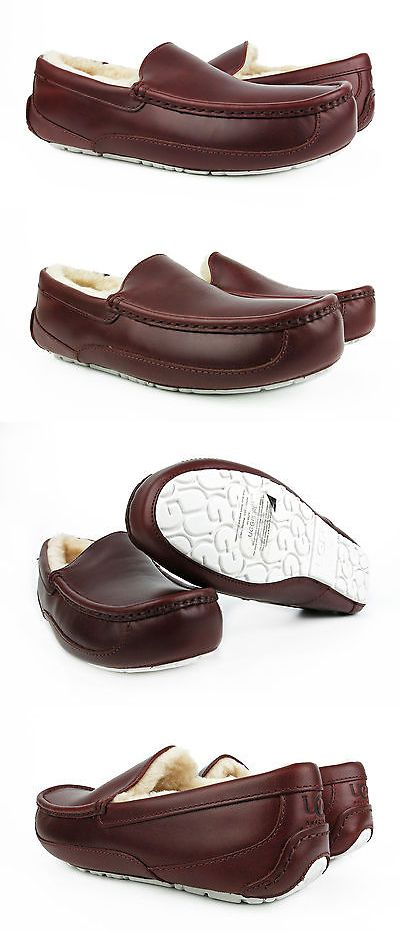 Slippers 11505: Ugg Ascot Cordovan Brown Leather Fur Slippers Mens 11 (Fits Size 10
