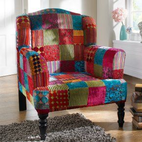 Patchwork sessel design interior pinterest for Ohrensessel 70er