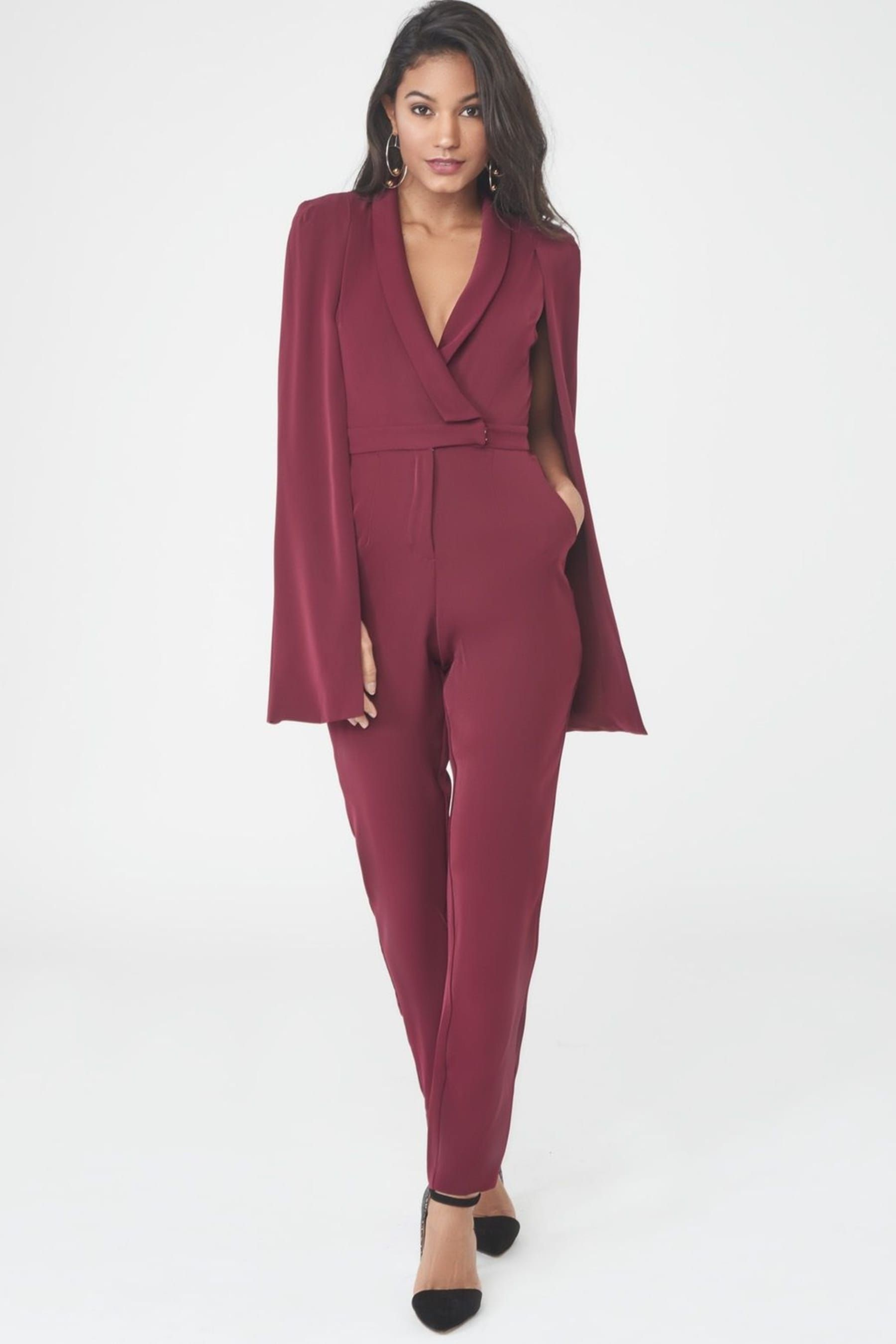 Tuxedo Cape Jumpsuit in Oxblood | couture | Pinterest | Cape ...
