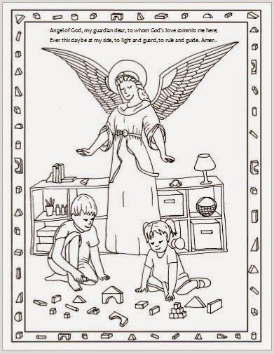 Free Printable Guardian Angel Catholic Coloring Page I Like How It Includes Ordinary Children Engaging