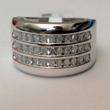 10kt White Gold 3 Rows 11mm Wide Size 12 Mens Diamonds Wedding Band Anniversary Ring