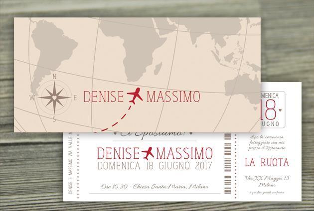 Matrimonio Tema Viaggio Frasi : Partecipazioni viaggio con aereo e cartina matrimonio