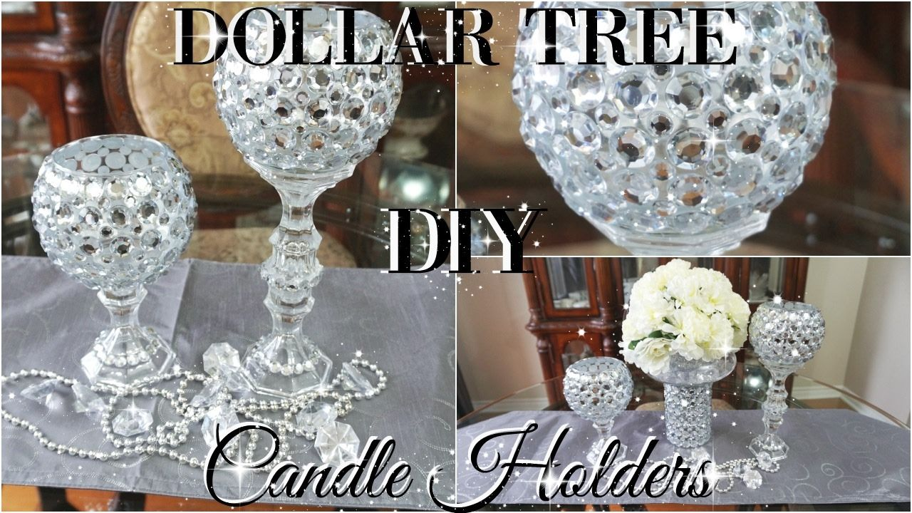 Amazing Dollar Tree Home Decor Ideas Part - 10: DIY DOLLAR TREE BLING CANDLE HOLDERS 2017 | PETALISBLESS