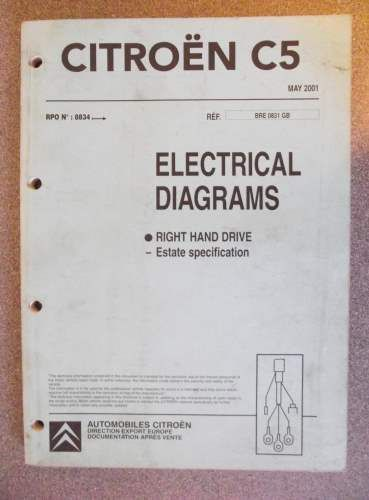 Citroen C5 Estate Electrical Diagrams Manual 2001 BRE0831GB | Citroen C5 Wiring Diagram Free |  | Pinterest