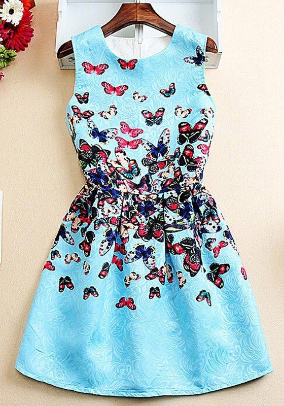 Sky Blue Butterfly Pattern Print Zipper Sleeveless Dress