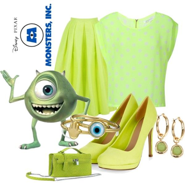 Mike (Monsters, Inc) by thefrugal-fashionista on Polyvore featuring polyvore, fashion, style, Glamorous, Bling Jewelry, Jones New York, INC International Concepts, disney, monstersinc, Mike and disneycharacter