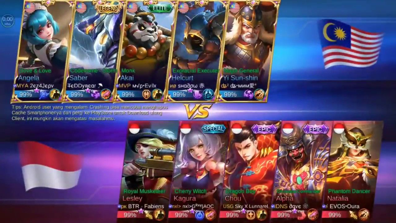 indonesia vs malaysia match 2 17 maret 2018 mobile legends