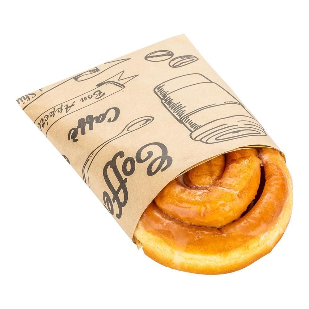 Kraft paper coffee shop wrap and pastry liner cup of joe