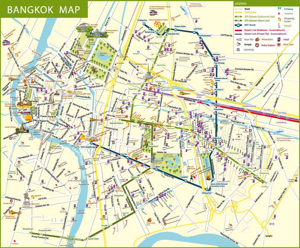 Bangkok City Thailand Map including Suvarnabhumi Bangkok