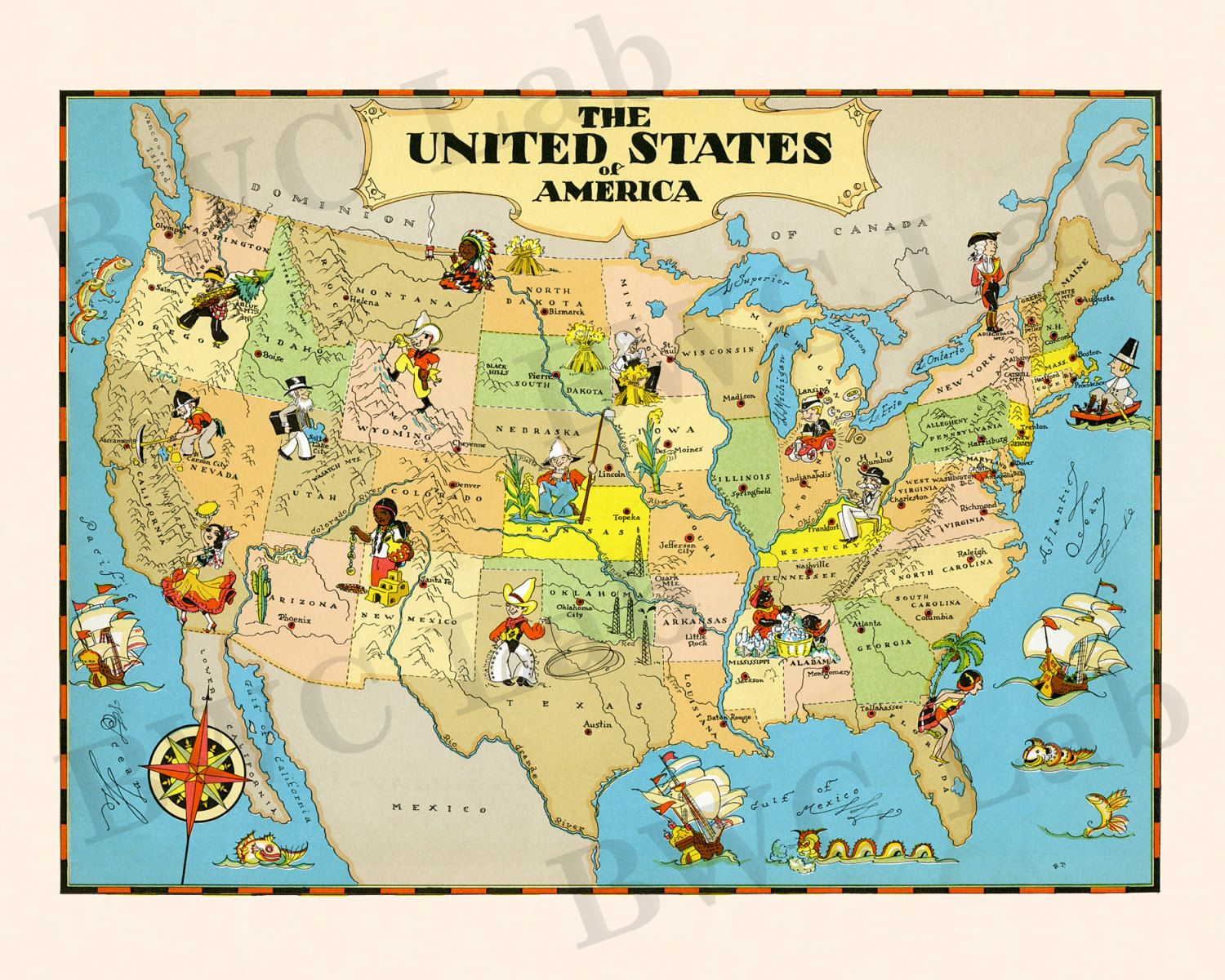 Vintage pictorial map of United States by Ruth Taylor Pictoral