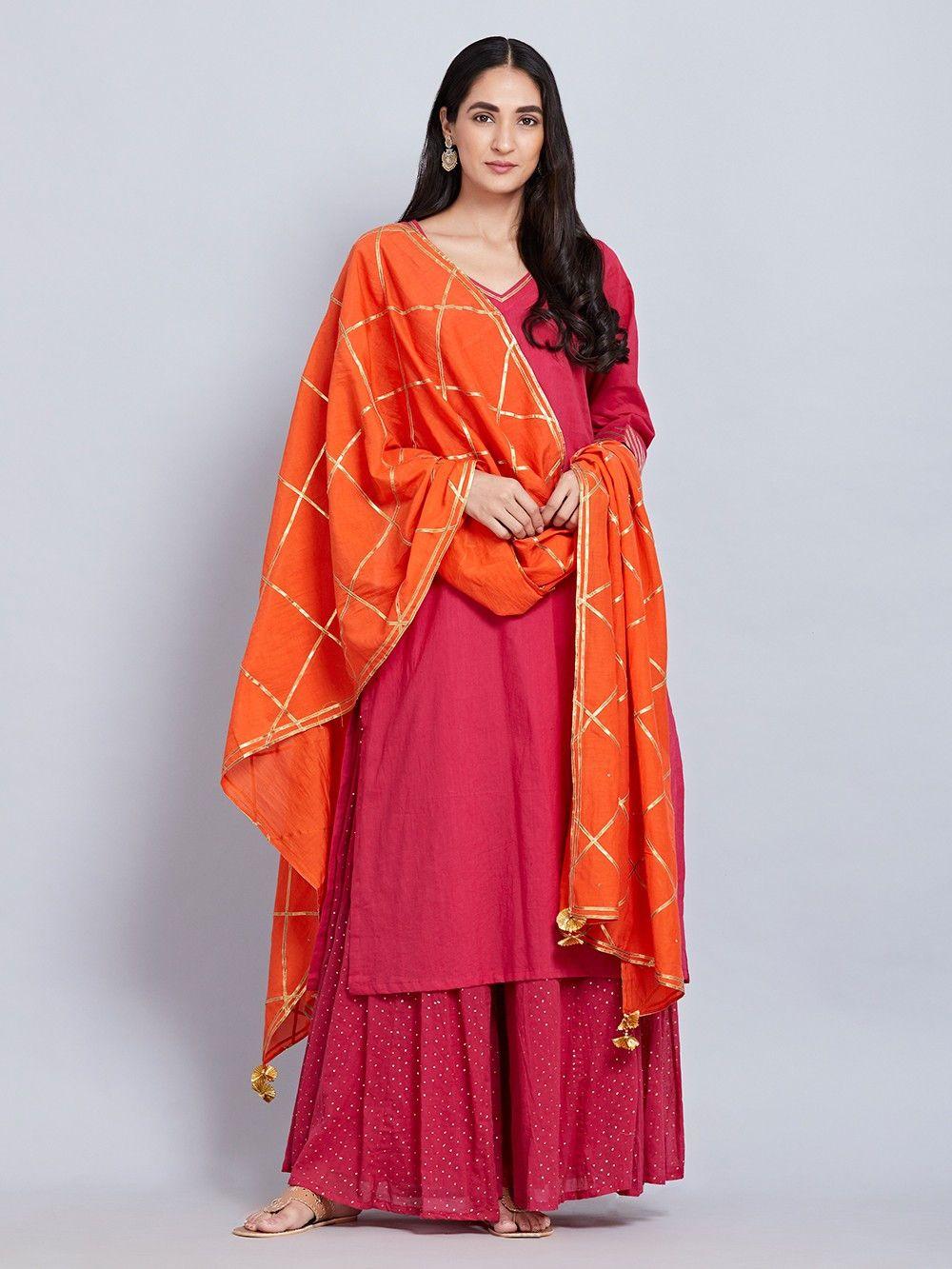 22a451bf36e85 Buy Pink Cotton Kurta with Hand Block Printed Sharara and Orange Gota  Dupatta - Set of 3 online at Theloom