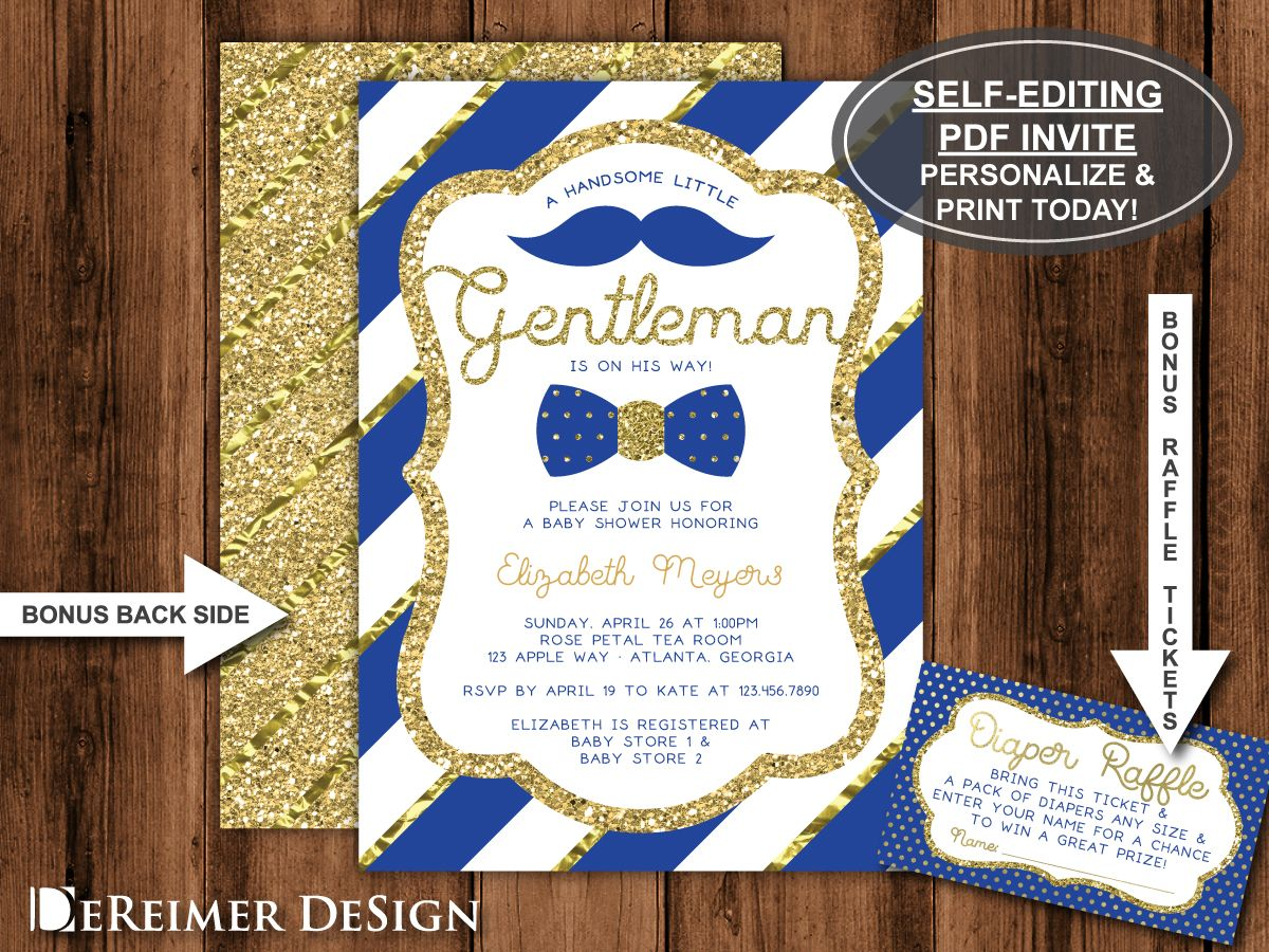 Little Man Baby Shower Invitation in Royal Blue and Gold, Bow Tie ...