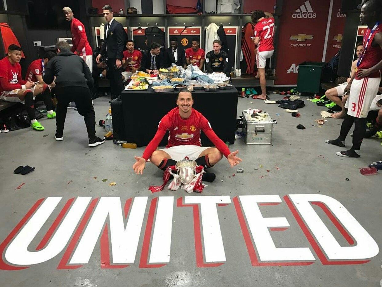Zlatan Ibrahimovic Of Man Utd At Wembley With The League Cup In