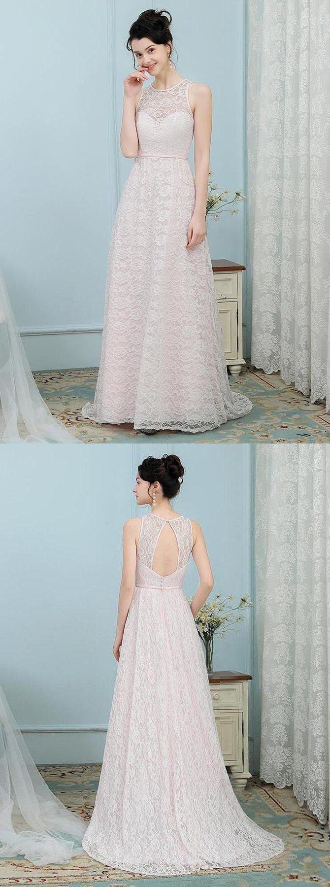 A-Line Round Neck Open Pink Pearl Pink Lace Bridesmaid Dress | Prom ...