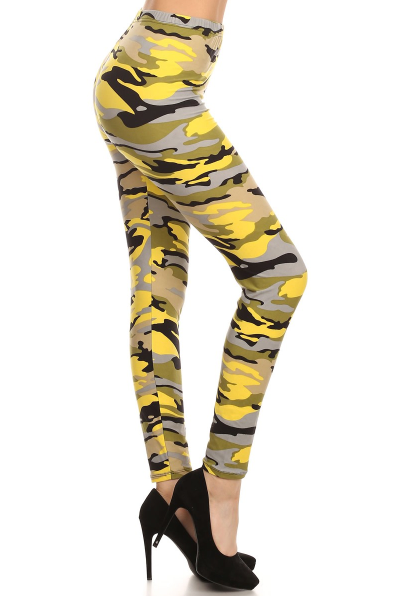 c91c058a4939b Camouflage Leggings - Yellow  Camo Army-Leggings  Colorful-Leggings   High-Waist-Leggings