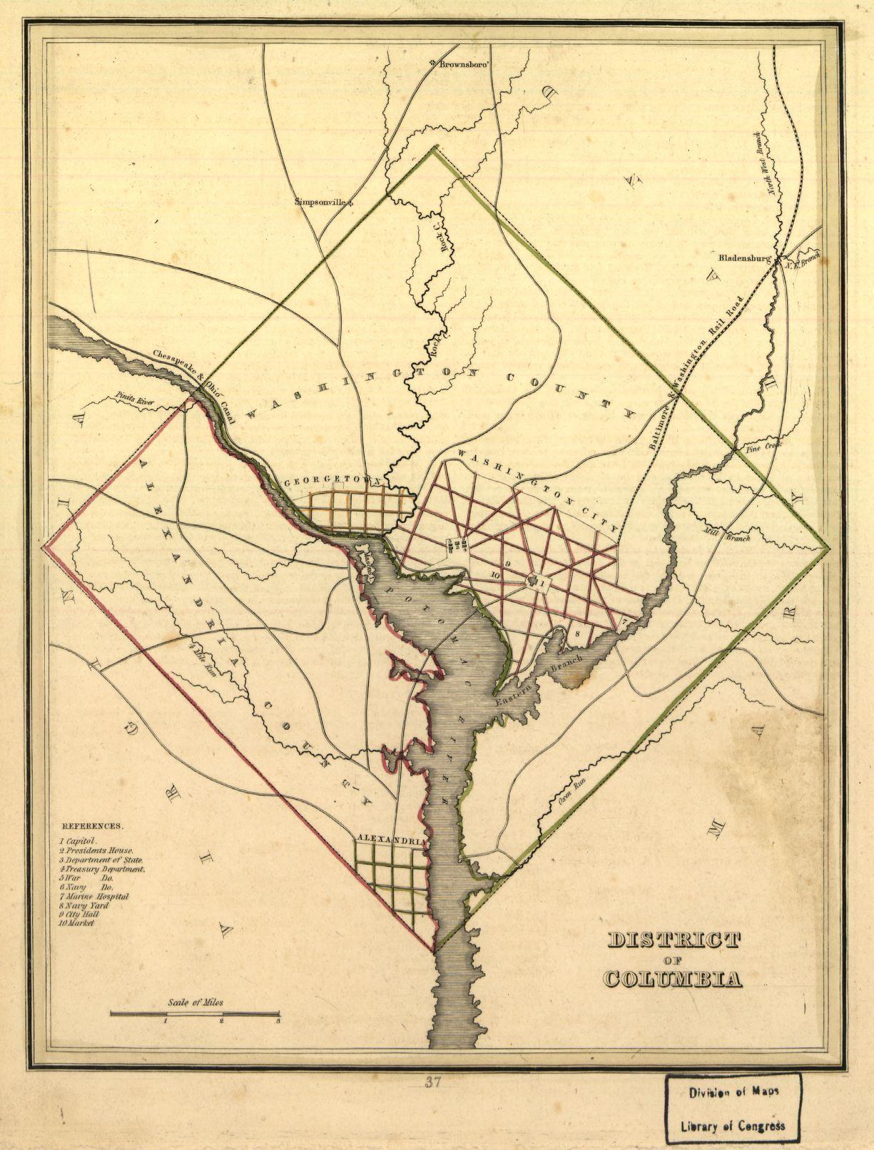 1835 Map Of Washington Dc Ads Classifieds Washington Dc Map - Washington-dc-on-a-map-of-the-us
