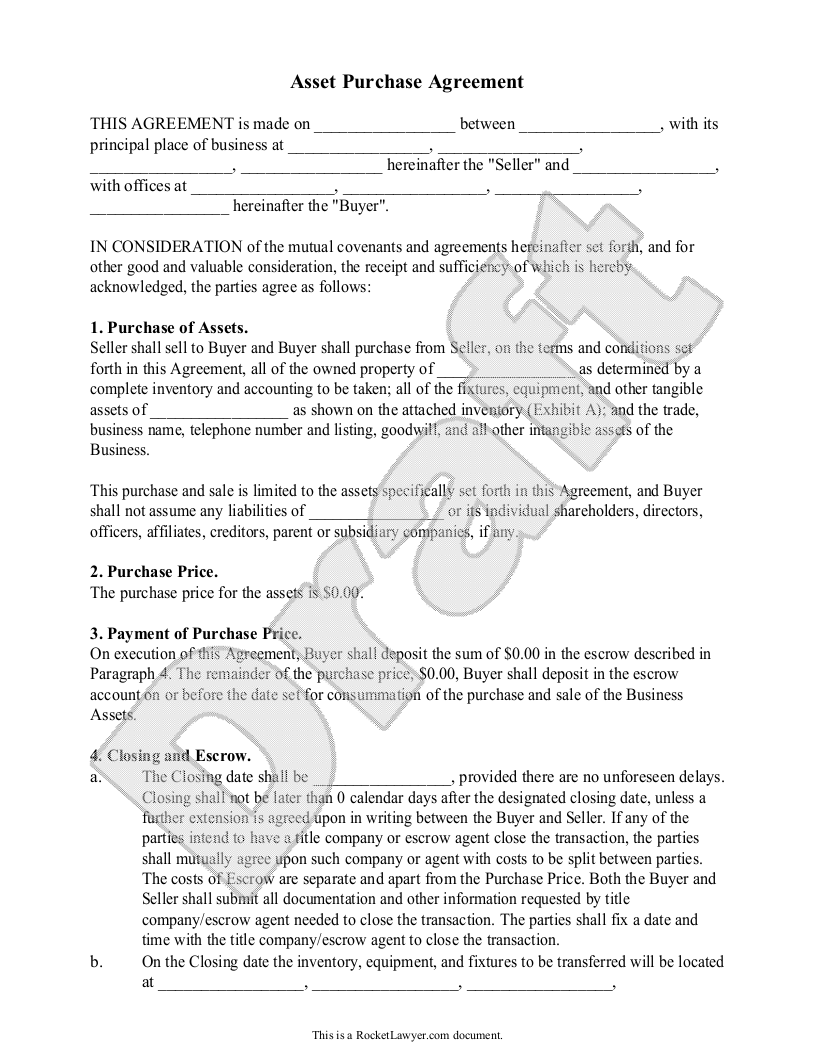 Sample Asset Purchase Agreement Form Template