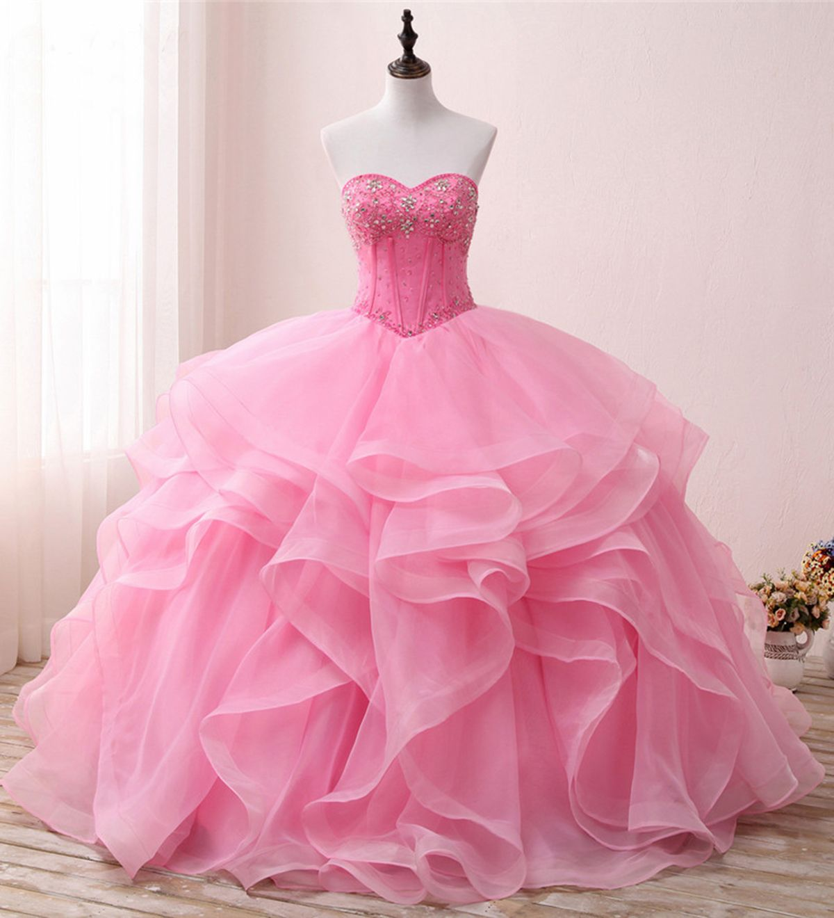Beautiful pink tulle long poofy evening gown for teens #promdress ...