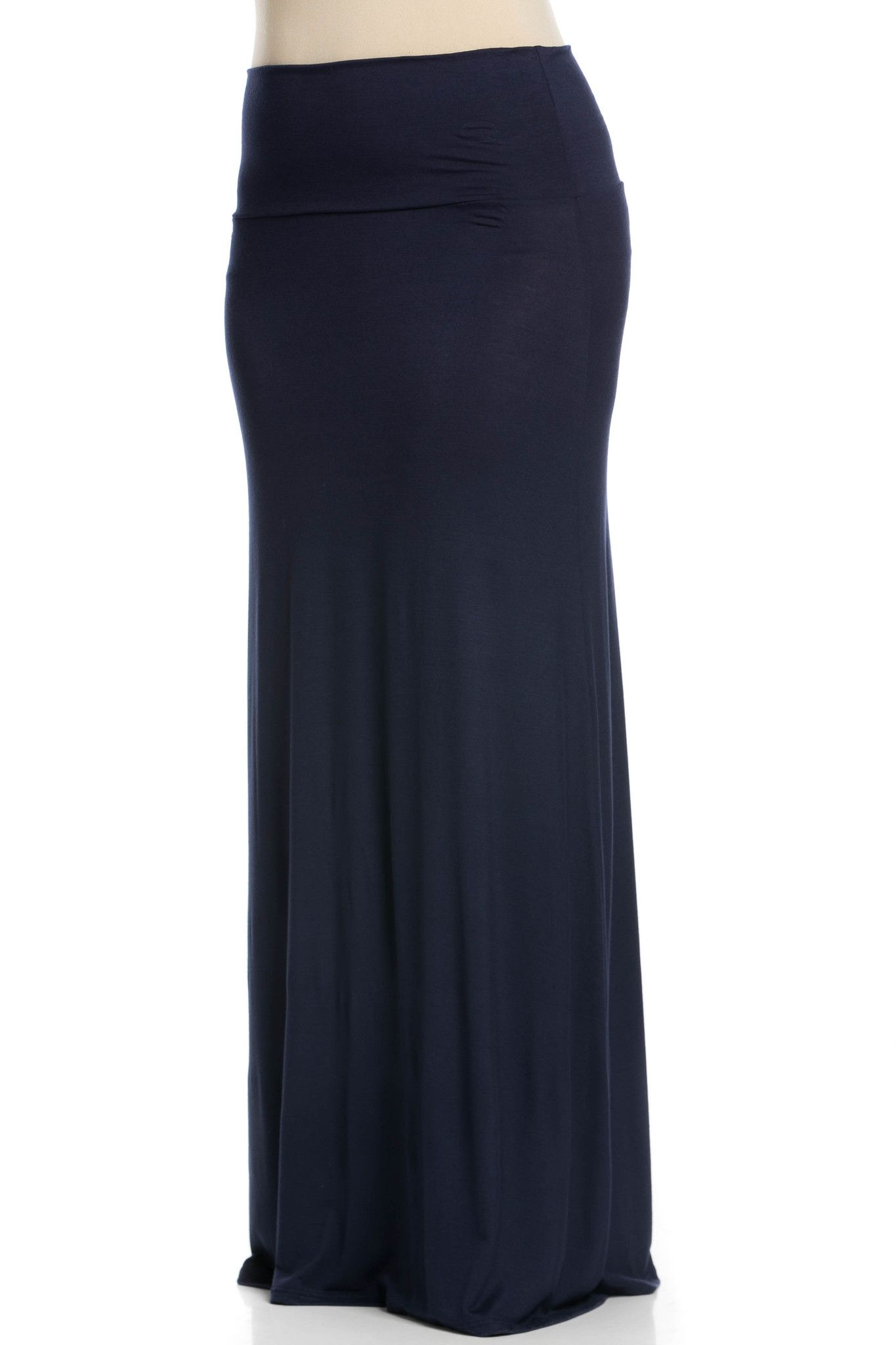 Fold Over Two-Way Maxi Skirt Navy