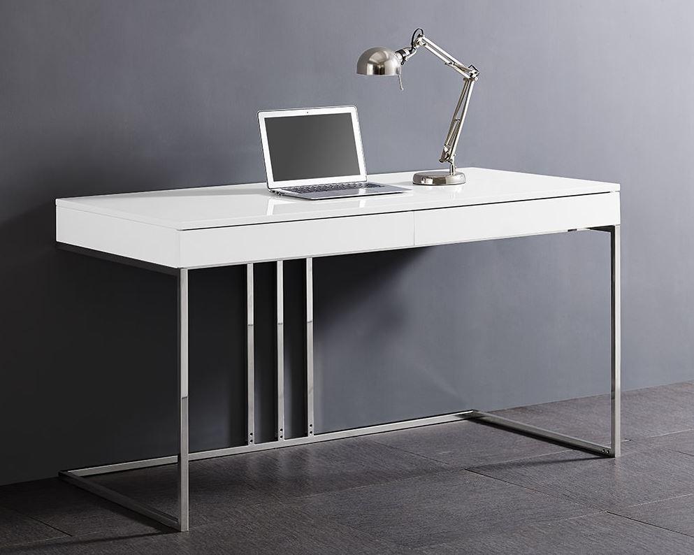 White And Stainless Steel 55 Modern Desk Modern White Desk Contemporary Office Desk Modern Desk
