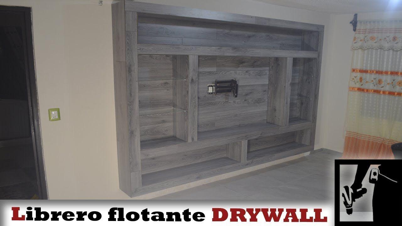 Librero flotante con panel de yeso y piso laminado || Drywall | ev ...