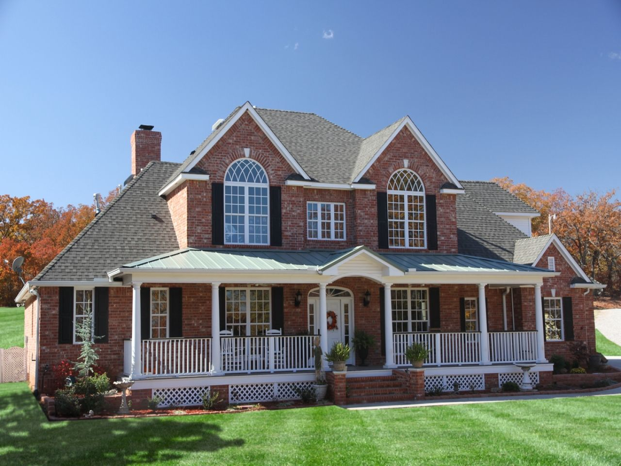 Cool houses with front porches two story brick house plans