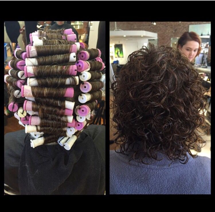 Weave perm technique with two rods got her wrapped in 1 for C curl perm salon vim