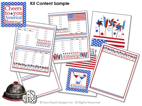 Patriotic Bunco Party Score Sheets – Bunco Score Sheets Template
