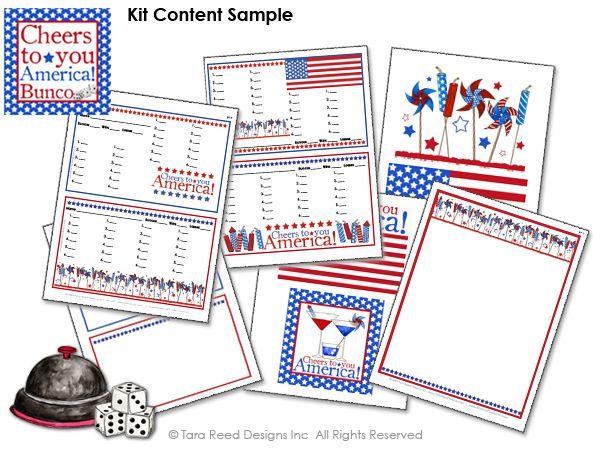 Patriotic Bunco Party Score Sheets  Print Your Own Bunco
