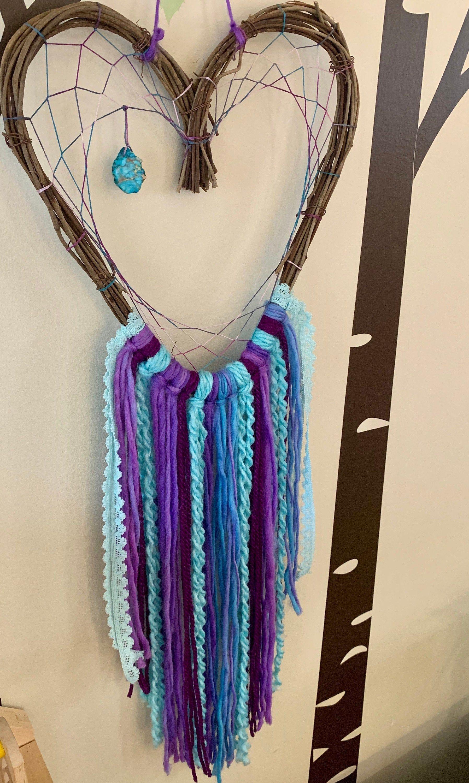 Grapevine heart dream catcher | Small dreamcatcher wall hanging | Shabby chic dreamcatcher | Nursery decor | Boho | Turquoise | Lavender -   19 diy Dream Catcher nursery ideas