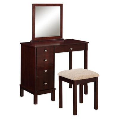 Buy Linon Home Julia Vanity Set In Walnut From Bed Bath Beyond
