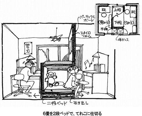 元祖 2段ベッドで立体子ども部屋 インテリア 収納 子ども部屋 子供部屋 間仕切り