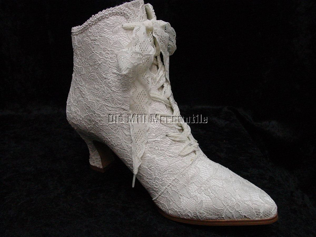 Thrift store wedding dress  Victorian Wedding boots Edwardian Granny style lace boots size