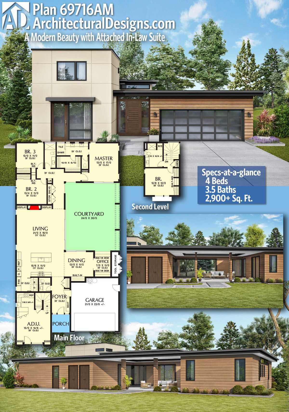 Plan 69716am A Modern Beauty With Attached In Law Suite Sims House Plans Modern House Plans Architecture
