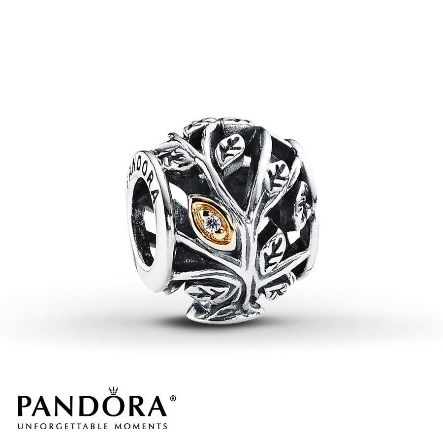 Pandora Family Tree Charm Clear Cz Sterling Silver 14k Gold Con Imagenes Joyeria De Pandora Pulseras Pandora Joyas