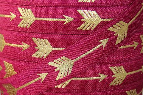 CoutureCraftSupply: Fold Over Elastic | Baby Headbands | Hair Ties - Wine/Gold Metallic Arrow Print Fold Over Elastic - 5/8 inch FOE - $1/yard