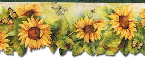 Fresh Kitchens Sunflower with Brown Butterfly Wallpaper Border Patton http://www.amazon.com/dp/B00IO42H7S/ref=cm_sw_r_pi_dp_5Nvzub1BXYYQF