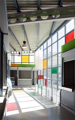 exterior glass wall with a mondrian pattern