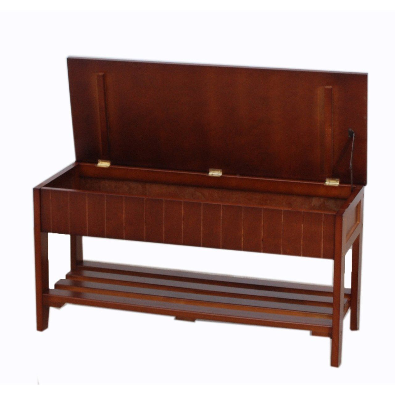 FurnitureMaxx Solid Wood Shoe Bench With Storage : Benches