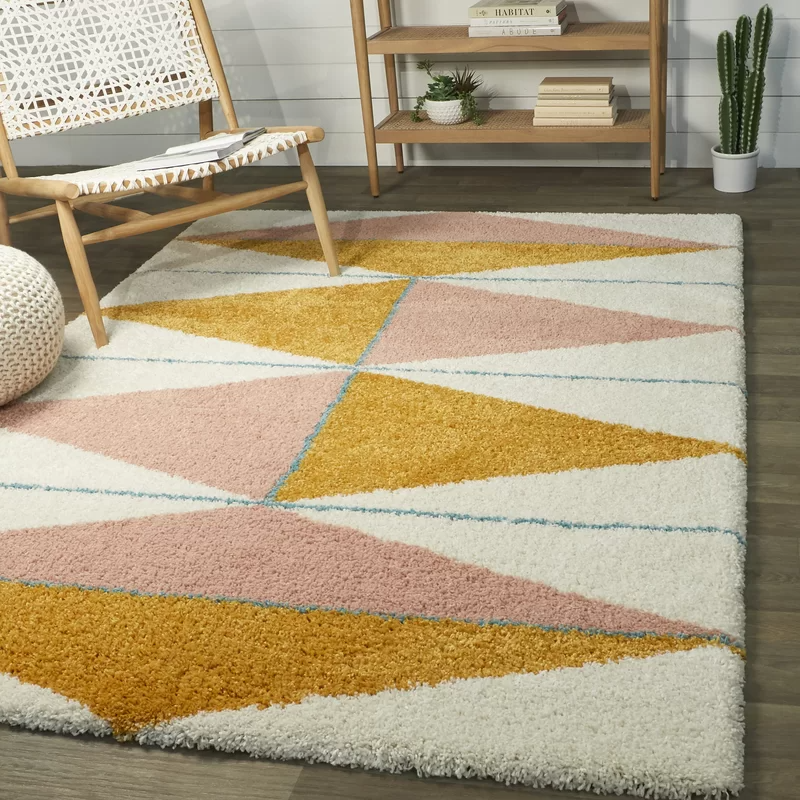 Wauseon Power Loom Pink Mustard Ivory Rug In 2020 Shag Area Rug Retro Rugs Area Rugs