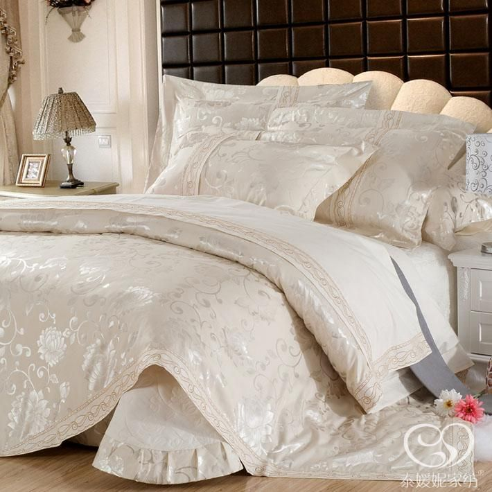 luxury bedding in champagne color and queen size