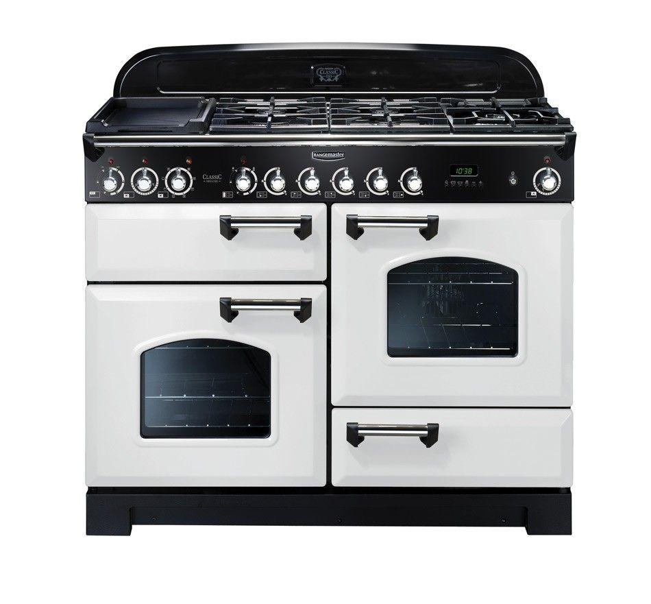 rangemaster classic deluxe 110 dual fuel range cooker whitechrome